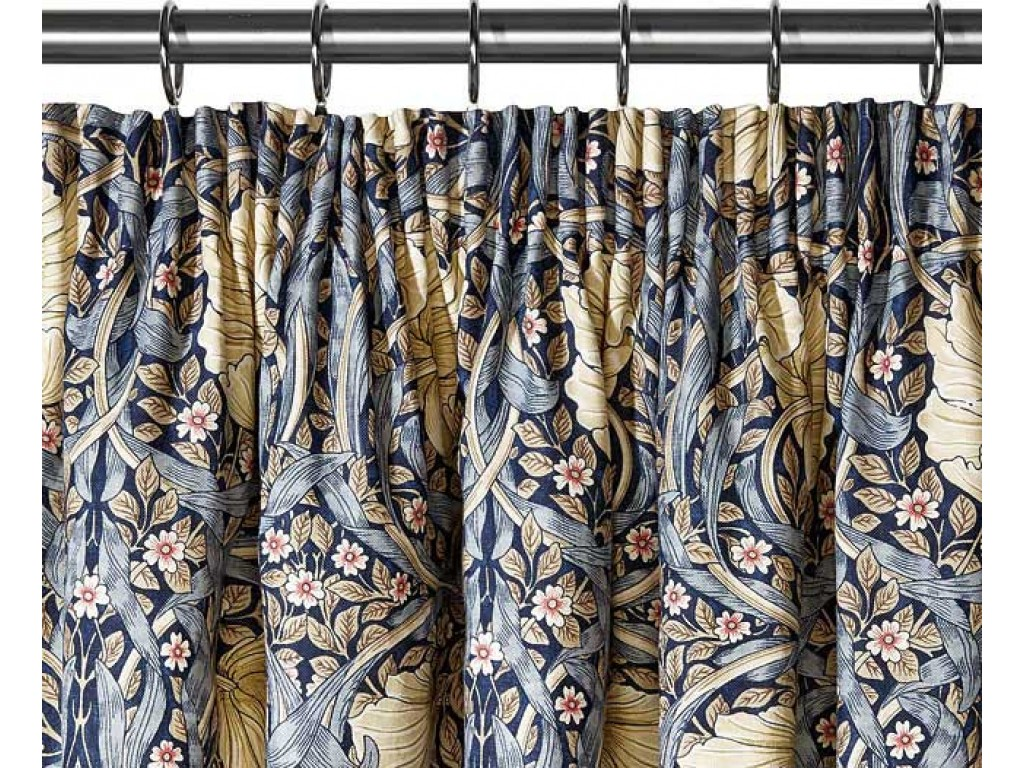 WM BLUE PIMPERNEL Lined Curtains Pair Tie Backs Surrey Linen Company